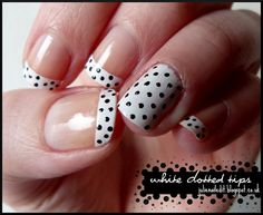 Nailed It: White Dotted Tips (maybe with solids instead of polka dots.  i like the idea of one solid with the other tips)