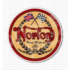 Norton Motorcycle Emblem Classic Round Sticker for - Stickers Motorcycle Norton Motorcycle, Motorcycle Stickers, Cafe Racers, Round Stickers, Harley Davidson, Motorcycles, How To Apply, History, Classic
