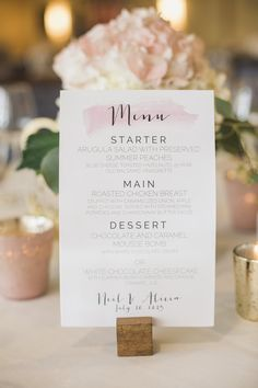 DIY wedding menus with blush watercolour details | July 2015 | Jordan ON | www.kjandco.ca | KJ and Co. vintage rentals at Alicia & Neil's Cave Springs & Inn On The Twenty wedding in Niagara region | Photo by Elizabeth In Love | Rustic DIY vineyard wedding