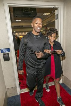 Jamie Foxx led the way for his Annie costar Quvenzhané Wallis in LA on Tuesday.