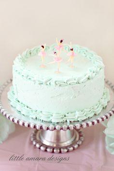 Little Amara Designs: Mint Ballerina Cake with Vintage Ballerina Toppers