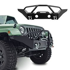 GSI Jeep Wrangler JK Black Textured Full Width Heavy Duty Rock Crawler Front Bumper With Fog Lights Hole and Winch Plate (Black) Jeep Wrangler Front Bumper, Jeep Front Bumpers, Jeep Wrangler Yj, Jeep Rubicon, Jeep Wrangler Camping, Jeep Wrangler Accessories, Jeep Accessories, Hummer H3, Patrol Y61