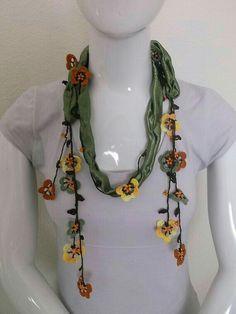 women scarf Crochet necklace scarf oya handmade women girl by TurkishDesing Crochet Flower Patterns, Crochet Flowers, Diy Necklace, Necklace Designs, Crochet Scarves, Knit Crochet, Fabric Jewelry, Crochet Accessories, Womens Scarves