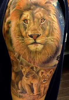 Lion tattoos epitomize strength, power, courage, and family. As the king of the jungle, lion tattoos for men are popular and masculine. And the best lion tattoo designs can have…View Post Lions Tattoo, Lion Arm Tattoo, Lion Shoulder Tattoo, Cubs Tattoo, Lion Tattoo Sleeves, Tattoo Henna, Mens Lion Tattoo, Lion Tattoo Design, Full Sleeve Tattoos