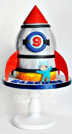 space rocket cake - Cake by Alina Vaganova Rocket Ship Cakes, Rocket Cake, Rocket Birthday Parties, 4th Birthday Cakes, Astronaut Party, Outer Space Party, Galaxy Cake, Cake Shapes, Novelty Cakes