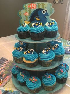 Finding dory cupcakes home maid Underwater Birthday, 3rd Birthday Parties, Third Birthday, Birthday Ideas, Clem, Finding Dory Birthday Cake, Nemo Cake, Birthdays, Party Ideas
