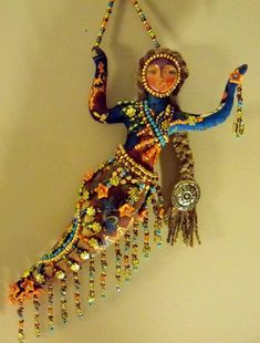 Ooak Fly Me to the MOON Goddess beaded art doll by arziehodge, $65.00 on Etsy