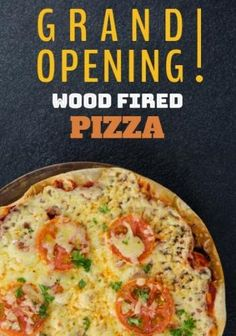 A creative grand opening template. A dark background with an image of a delicious pizza. Restaurant Marketing, Wood Fired Pizza, Dark Backgrounds, Grand Opening, Firewood, Templates, Creative, Image, Design