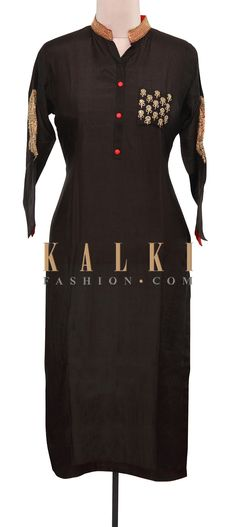 Buy Online from the link below. We ship worldwide (Free Shipping over US$100). Product SKU - 309238.Product Link - http://www.kalkifashion.com/black-kurti-adorn-in-sleeve-embroidery-only-on-kalki.html