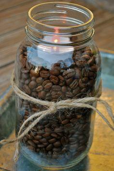 Fall Decorating-Coffee Beans & Mason Jars - Amanda Jane Brown