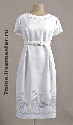 Вышивка платье лен авторская работа