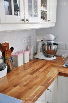 simply about home: Serce domu  / Kitchen / Ceramic Tiles / Mint / Pink / White Kitchen /KitchenAid / Ikea
