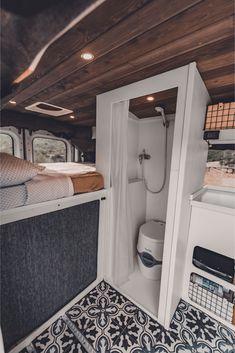 Van Conversion Interior, Camper Van Conversion Diy, Van Interior, Van Conversion With Bathroom, Ford Transit Camper Conversion, Bus Camper, Camper Life, Bus Life, Tiny Camper