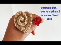 crochet heart - tela espiral - paso a paso - crochet - ganchillo - Freeform Crochet, Crochet Art, Thread Crochet, Filet Crochet, Crochet Motif, Crochet Doilies, Love Crochet, Crochet Flower Tutorial, Crochet Flower Patterns