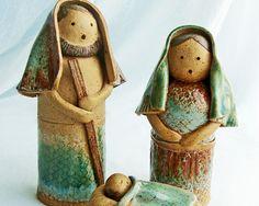 Nativity Set, Rustic Handmade Ceramic Clay Sculpture