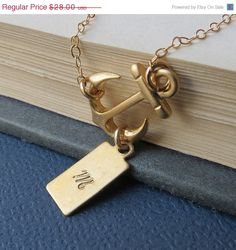 ON SALE Personalized Sideways Anchor Necklace Gold Fill by lizix26, $25.20