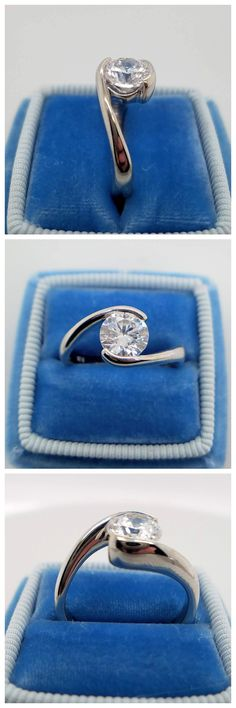 As the 14k white gold band embraces a 1.00 carat round brilliant cut center diamond, the Ripple design creates a soft and delicate feel. The high polish finish of the flowing band creates a sleek transition for the eye to focus upon the flashes of color projecting from the center stone. This design can be made for any type, shape, or size center stone. Contemporary Engagement Rings, Thing 1, Gold Bands, Unique Rings, Delicate, White Gold, Polish, Eye, Shape