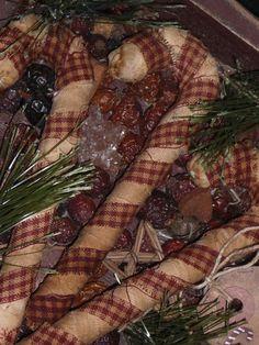 Primitive Christmas Holiday Homespun Candy Canes