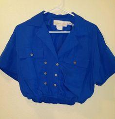 stores.ebay.com/Aglae-Fashion-Malinche Women's vintage crop top MADE IN THE USA blue sz 12 BY CALIFORNIA GIRL  #CALIFORNIAGIRLBYDOROTHYSAMUEL