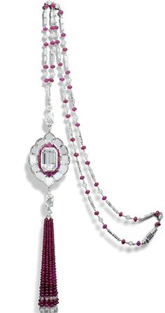 Rosamaria G Frangini   HighJewellery Classic   An exceptionally rare 10.03-carat, D-color, internally flawless certified type IIa diamond set in a diamond-and-ruby sautoir by jewelry designer Viren Bhagat.