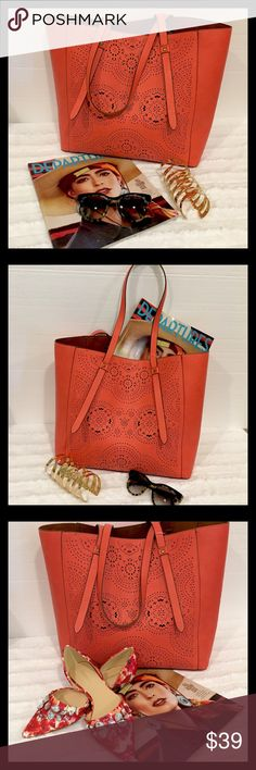 NWT 🎉Host Pick 🎉 06/11/17 Coral-Cognac Tote Bag NWT Perforated Large Tote Bag in a Beautiful Rich Coral-Cognac Bags Totes