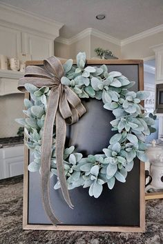 1632 Lamb's Ear Grapevine Wreath. Farmhouse