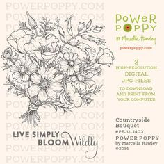 Countryside Bouquet Digital Stamp Set | Power Poppy by Marcella Hawley