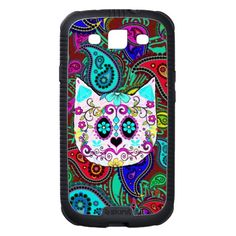 Paisley Sugar Skull Cat 2 Case for iPod Touch 4 Galaxy S3 Cases, Samsung Galaxy S5, 5s Cases, Iphone Cases, Sugar Skull Cat, Hipster Cat, Paisley Flower, Teal And Pink, Paisley Pattern