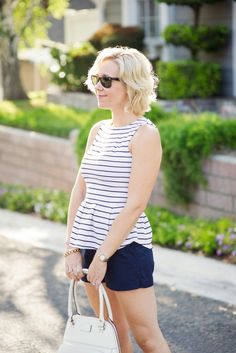 striped peplum with C Wonder shorts and sparkly peep toe flats Kacee from Life with Lipstick On