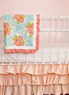 Peach Bumperless Crib Bedding by LottieDaBaby on Etsy