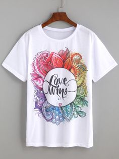 Love Wins Tshirt This t-shirt is Made To Order, one by one printed so we can control the quality. Shirt Print Design, Shirt Designs, Fabric Paint Shirt, Moda Outfits, Tie Dye T Shirts, Character Outfits, Direct To Garment Printer, Printed Shirts, Shirt Style