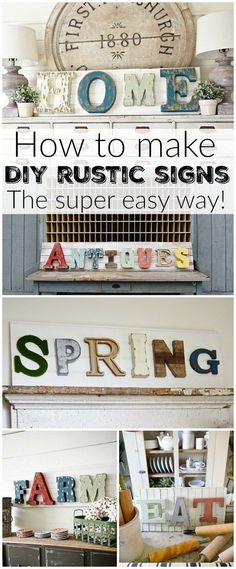 DIY rustic signs / farmhouse decor / home decor craft Rustic Signs, Wooden Signs, Rustic Decor, Vintage Decor, Farmhouse Decor, Rustic Letters, Rustic Crafts, Vintage Farmhouse, Farmhouse Table