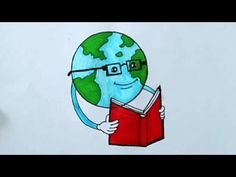 International literacy day drawing step by step Drawing Drawing, Step By Step Drawing, World Literacy Day, International Literacy Day, Ozone Layer, Poster Drawing, Art Classroom, Easy Drawings, Earth