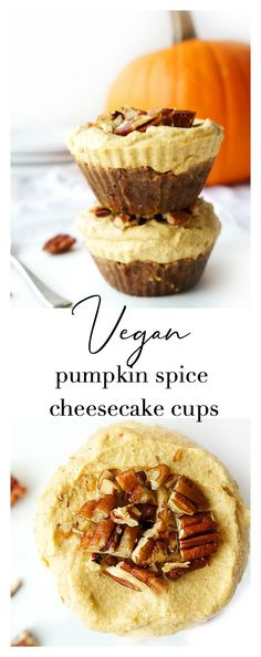 These No-Bake Vegan Pumpkin Spice Cheesecake Cups make a healthier autumn-themed treat that still tastes sweet and decadent, while still offering lots of nutrients and no refined sugar. Vegan Pumpkin, Pumpkin Recipes, Fall Recipes, Pumpkin Spice, Vegan Recipes, Vegan Treats, Vegan Desserts, Delicious Desserts, Dessert Recipes