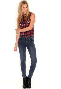 Esme High Waist Skinny Jeans In Blue #mgwinterwardrobe
