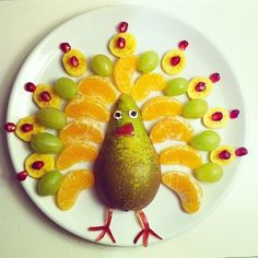 Fruit Turkey | So cute! Kids will devour all of the vitamins and nutrients!