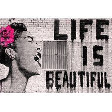 'Life Is Beautiful' by Banksy Graphic Art Print on Wrapped Canvas