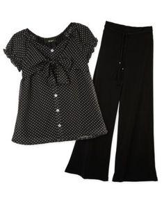 BCX Kids Set, Girls Polka Dot Top and Wide-Leg Pants - Kids Girls 7-16 - Macy's
