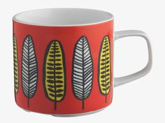 FREDA MULTI-COLOURED Porcelain Red leaf-patterned mug - HabitatUK