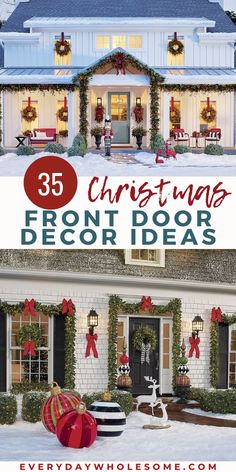 35 Christmas Front Porch Ideas for Holiday - simple decor ideas farmhouse signs DIY decorations