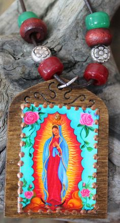 Guadalupe Necklace, Our Lady of Guadalupe, Guadalupe pendant, Brown wood guadalupe, spiritual jewelry, Mexican art, Virgin Mary necklace.  The