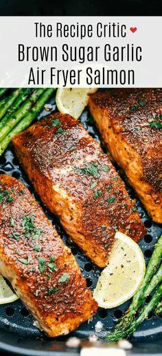 Air Fryer Oven Recipes, Air Frier Recipes, Air Fryer Dinner Recipes, Air Fryer Recipes Salmon, Baked Salmon Recipes, Seafood Recipes, Cooking Recipes, Salmin Recipes, Eating Clean