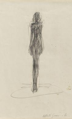 Alberto Giacometti 1901 - 1966 FEMME NUE DEBOUT - RECTO BOUQUET DANS UN VASE - VERSO