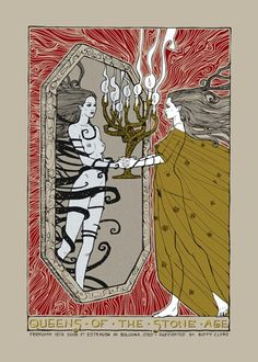 Queens of the Stone Age w/ Biff Clyro - Artist edition silkscreen concert poster (click image for more detail) Artist: Malleus Venue: Estragon Club Location: Bologna, Italy Concert Date: Edi Hippie Style, Art Hippie, Tour Posters, Band Posters, Music Posters, Retro Posters, Music Artwork, Art Music, Concert Posters