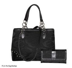 Concealed Carry Signature Shoulder Gun Purse with Matching Wallet (Black)  Priced at $69.28
