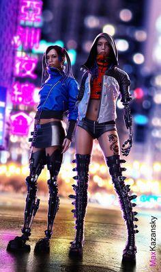 Asian twins in cyberpunk style Cyberpunk Mode, Cyberpunk Girl, Cyberpunk Aesthetic, Arte Cyberpunk, Cyberpunk Fashion, Neon Aesthetic, Cosplay, Art Manga, Steampunk