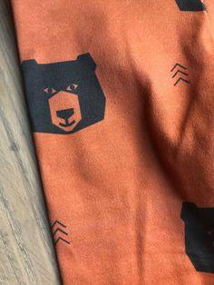 bears on rust orange jersey knit leggings Little Acorns, Men Closet, Rust Orange, Cotton Spandex, Bears, Organic Cotton, Leggings, Fabric, Man Closet