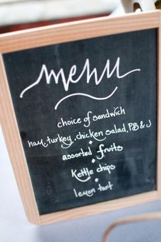 Menu:  Choice of Sandwiches