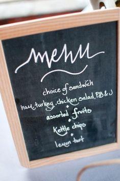 Menu:  Choice of Sandwiches