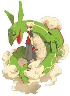 Brendan/Ruby and Rayquaza Poke Pokemon, Flying Type Pokemon, Pokemon Fan Art, My Pokemon, Pokemon Stuff, Rayquaza Pokemon, Mega Rayquaza, Pikachu, Fanart